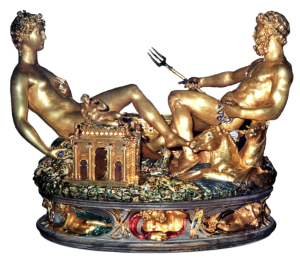 "Saltcellar, called the ""Saliera"", made 1540-1543 in Paris. Gold, covered in part by enamel; base: ebony."