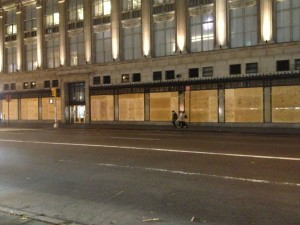 NY's finest, SAKS Fifth Avenue, boarded up the front of their store