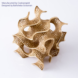 A 3D printed gold sculpture by Cooksongold