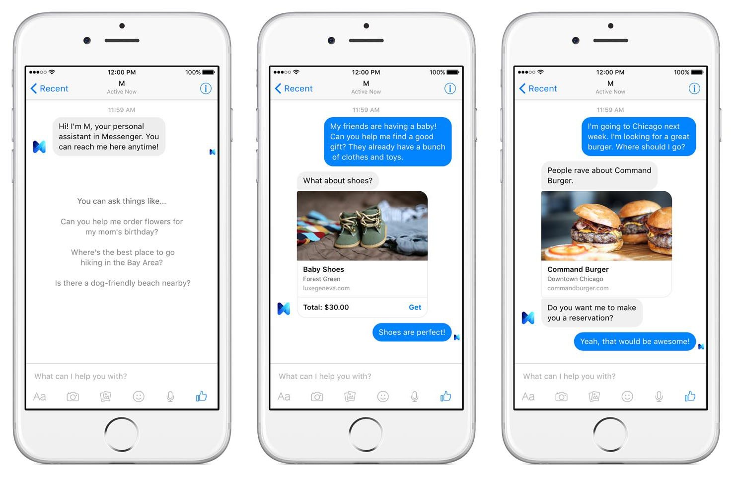 """M"", the Facebook Messenger Personal Assistant."
